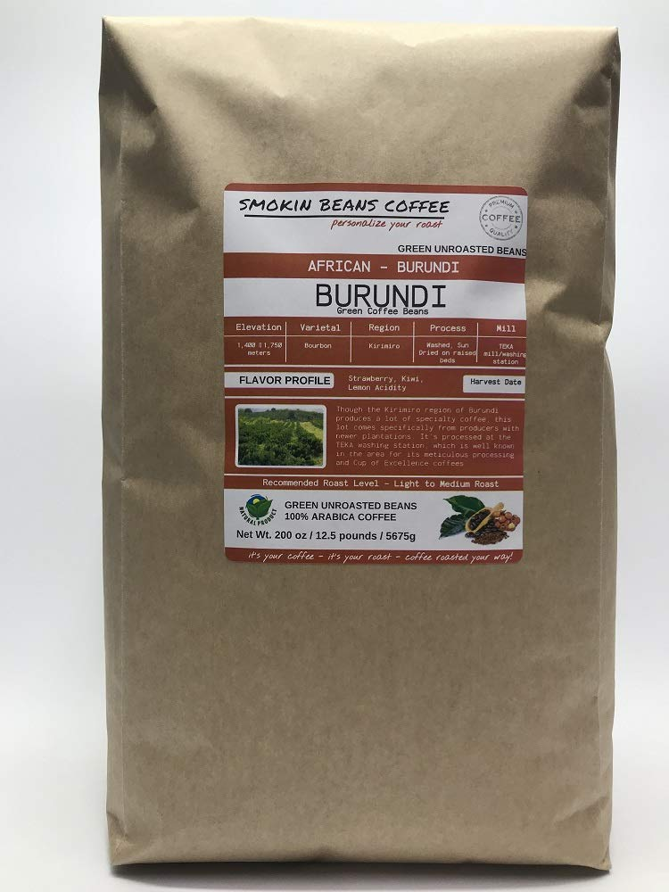 12.5 Pounds - Northern Africa - Burundi - Unroasted Green Coffee Beans - Grown In Region Kirimiro - Altitude 1400-1750 Meters - Bourbon - Drying/Milling Process Is Washed, Sun Dried by Smokin Beans