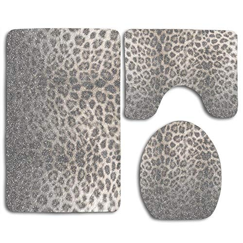 3 Piece Bathroom Rugs Set, Soft Non Slip Bath Mat and U-Shaped Toilet Mat Bath Rug for Toilet,Rubber Backing - Shimmer Snow Leopard Glitter Abstract