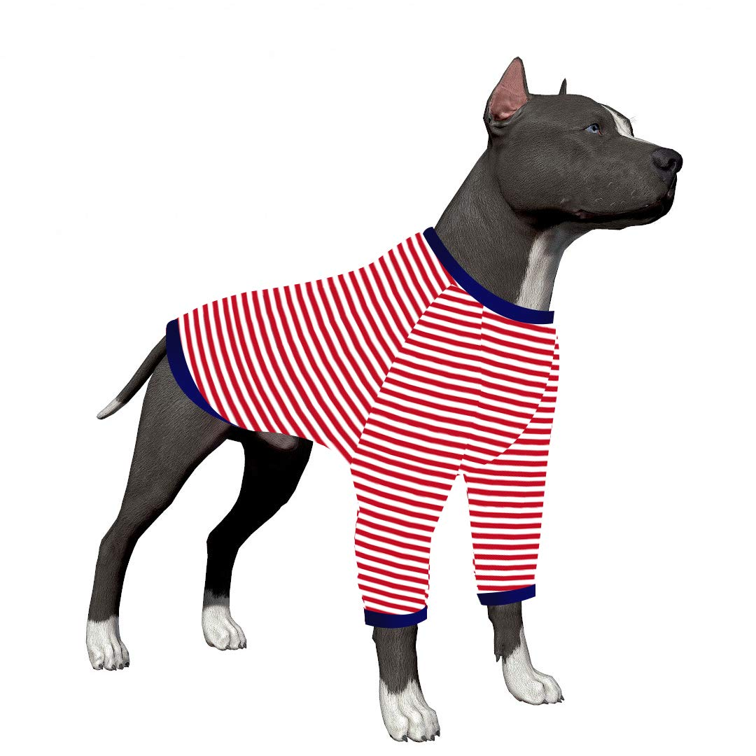 LovinPet Large Dog Onesie/Red Dog Stripe Shirt/2-Legs Design/Full Belly Coverage/for Big Dogs/Pitbull Shirt by LovinPet