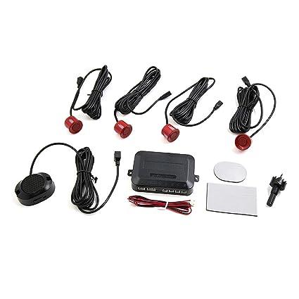 sourcingmap Vehículo Coche LEDs Pantalla Parking 4 Sensores de Marcha Atrás Reversa Kit de Alerta de