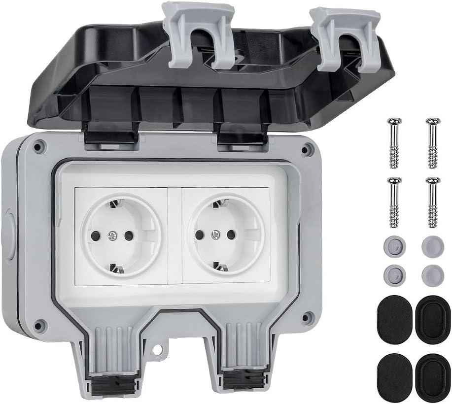 Abschließbare Außensteckdose für Winkelstecker 230V//16A,