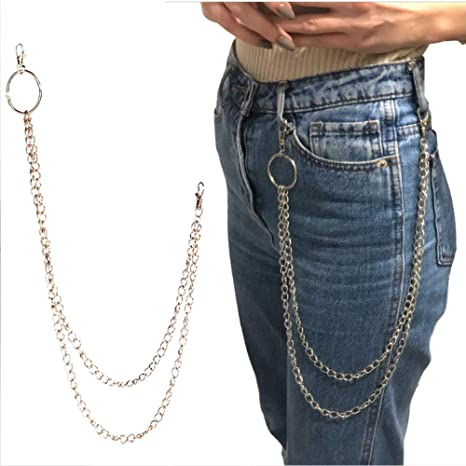 5 Pieces Wallet Long Chain Purse Pocket Belt Chain Punk Key Chain with Lobster Clasp for Jeans Pant Belt Wallet and Keys