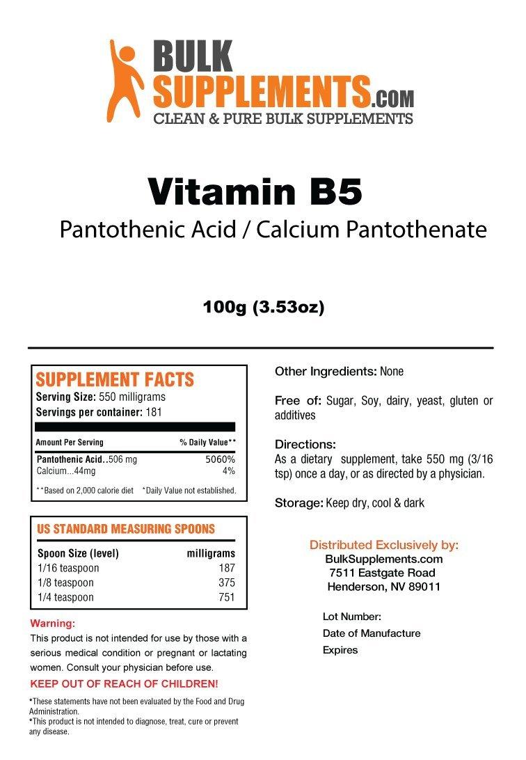 BulkSupplements Vitamin B5 Calcium Pantothenate/Pantothenic Acid (100 grams)