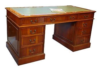 Schreibtisch Englischer Stil Kirsche Lederauflage Amazon De Kuche