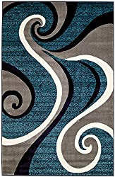New Summit 032Swirl Blue Navy White Light Gray Area Rug Abstract Carpet Sizes Available 2x3 2x7 4x6 5x8 8x10 (2X3 ACTUAL IS DOOR MAT 22''X35'')