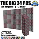 Dragon Dash 24 Pack of 25 x 25 x 5 cm Burgundy and Gray Acoustic Soundproofing Pyramid Foam Studio Treatment Wall Panel Tiles DD1034 (BURGUNDY & GRAY)