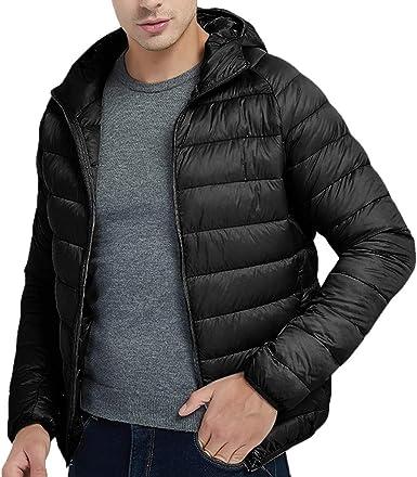 waotier Chaquetas Hombre Invierno Ropa de Abrigo Estilo Abrigo de algodón Ligero Cazadora con Capucha en Color Liso: Amazon.es: Ropa y accesorios