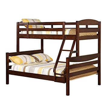 Twin Double Solid Wood Bunk Bed Brown Amazon Ca Home Kitchen