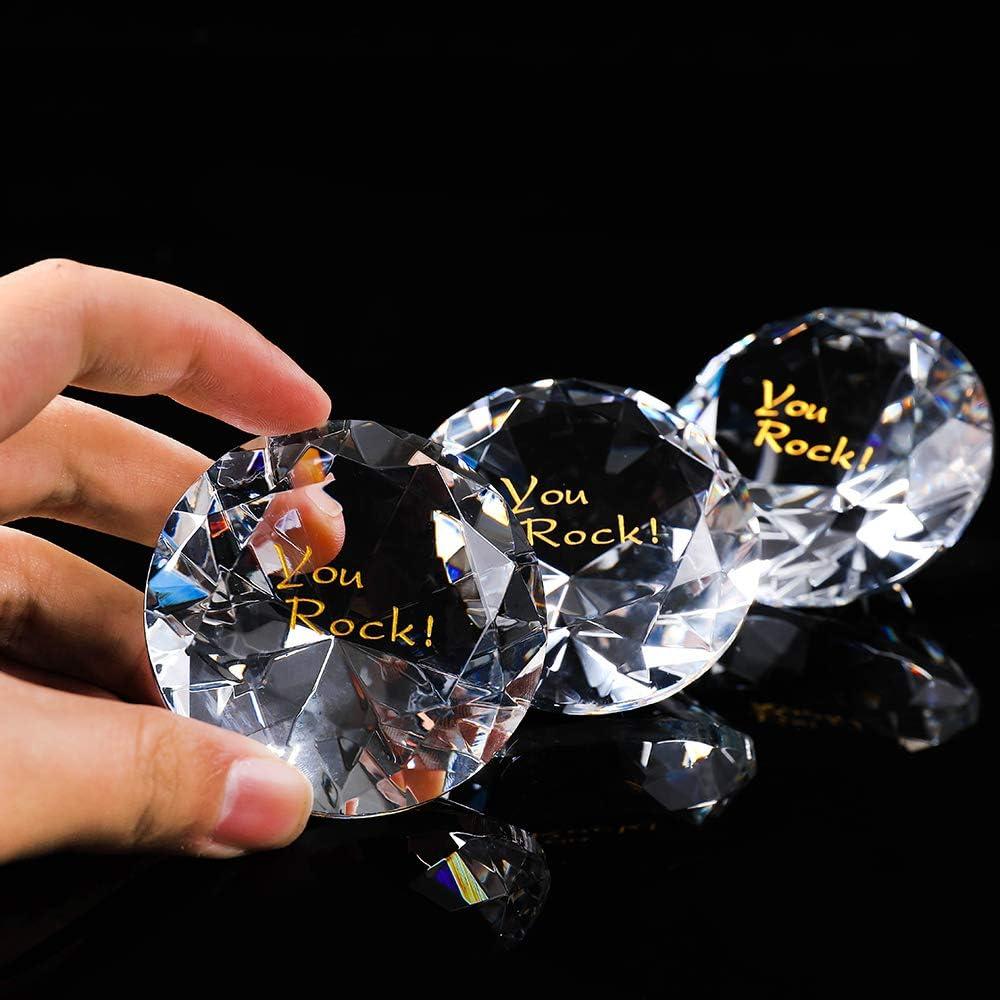 Paperweight Appreciation Glass Crystal Prism Suncatcher Rainbow Maker 12PCS Gratitude RockImpact Extra-Large Engraved Sapphire Crystal Diamond Gratitude, Cobalt Blue Wedding Table Home Decoration