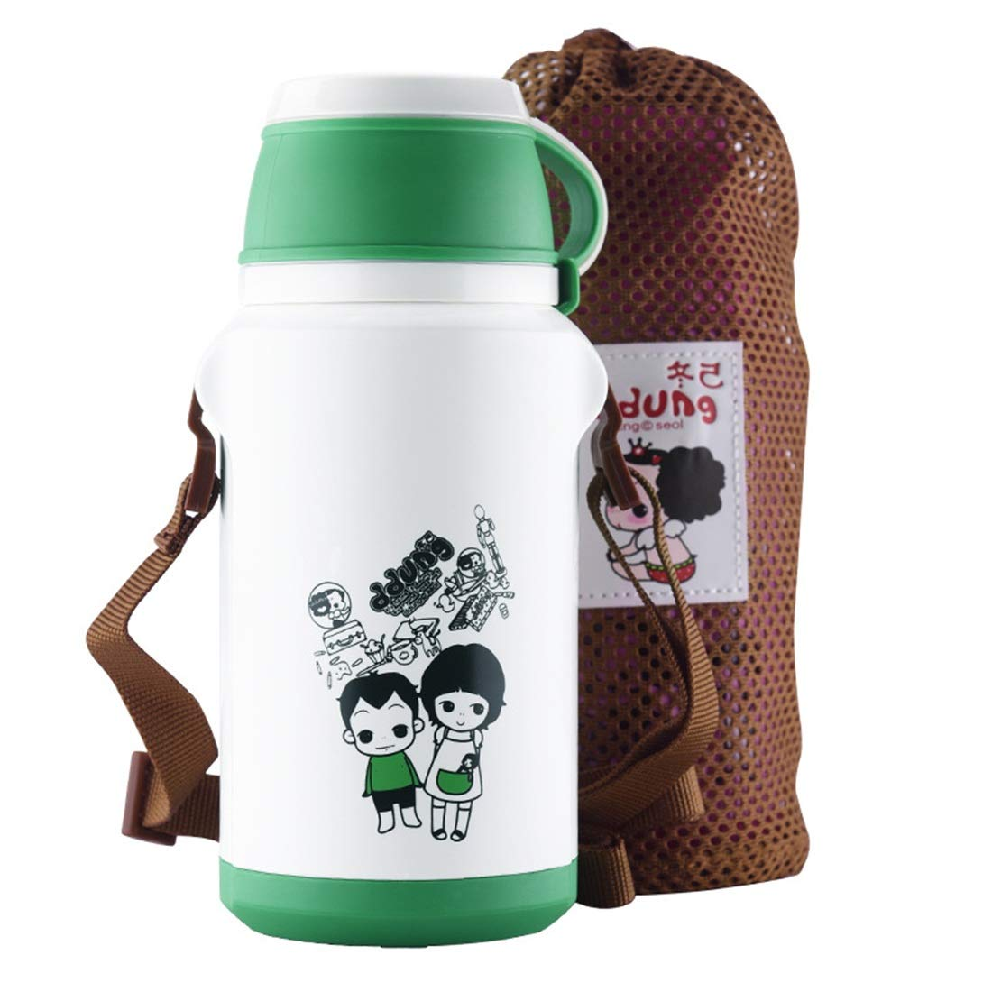 Yhui Stainless Steel Cup 2019 Vacuum Cup Children Portable Outdoor Leak Proof Cartoon with Cup Cover Stainless Steel Sports Cup/White (Color : White, Size : 350ml) by Yhui