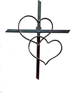 Ardour 12.5 x 9.5 Inch Metal Decorative Hanging Wall Cross Two Hearts Joined.Metal Wall Crosses for Home Decor - Black