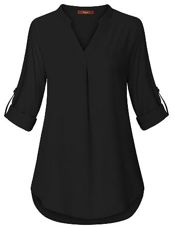 Gaharu Women S Casual V Neck Roll Up 3 4 Sleeve Plaid Shirt Blouse