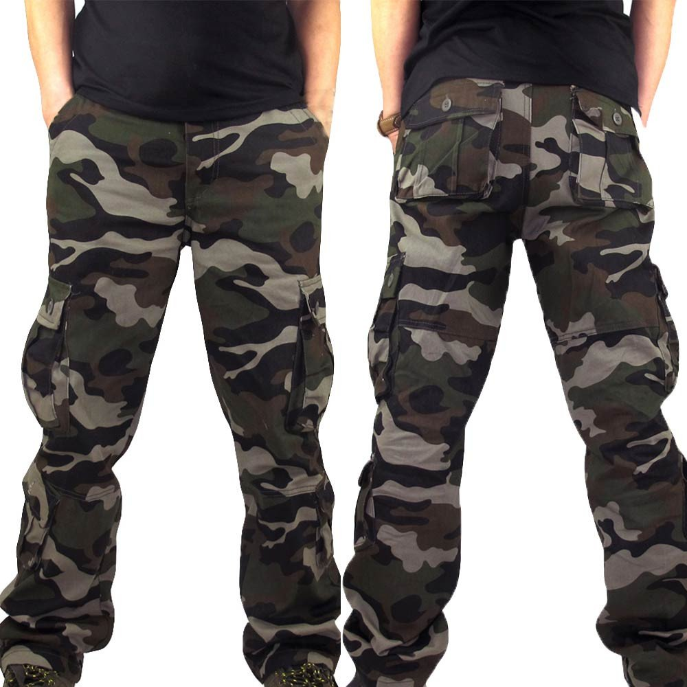 HHei_K Mens Plus Size Casual Cotton Solid Camouflage Pocket Work Long Trouser Sport Overalls Pants by HHei_K (Image #5)