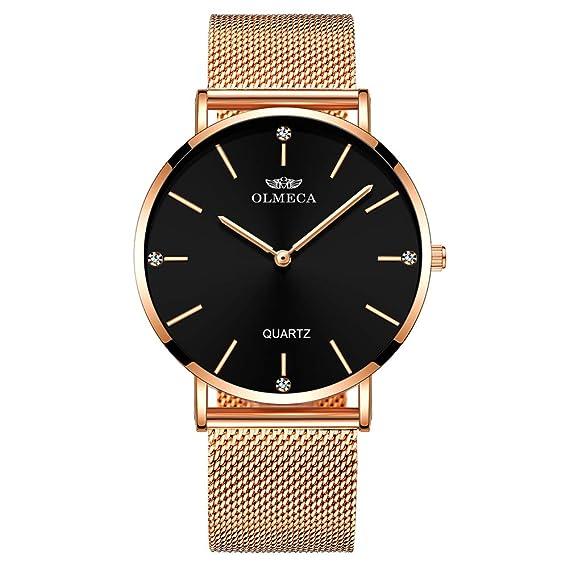 OLMECA Womens Watch Wrist Watches Analog Quartz Waterproof Stainless Steel Mesh Band Simple Watch for Women