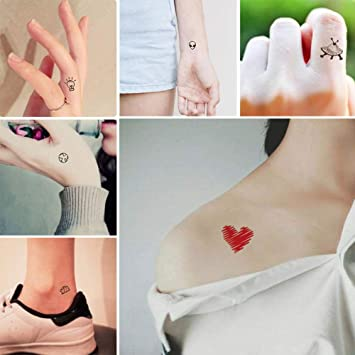 Everjoy Tiny Cute Temporary Tattoos 30 Pcs Waterproof Words Lines Flowers Artworks Figures Hearts Patterns For Kids Adults Women And Men