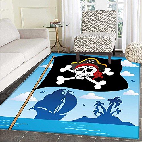 Pirate Customize Floor mats for home Mat Danger Sign Beware