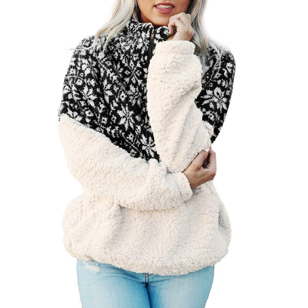 Copo de Nieve de Las Mujeres de Lana de Cuello Alto impresión de la Cremallera Chaqueta de Moda suéter Chaqueta otoño e Invierno Sudadera Caliente riou: ...