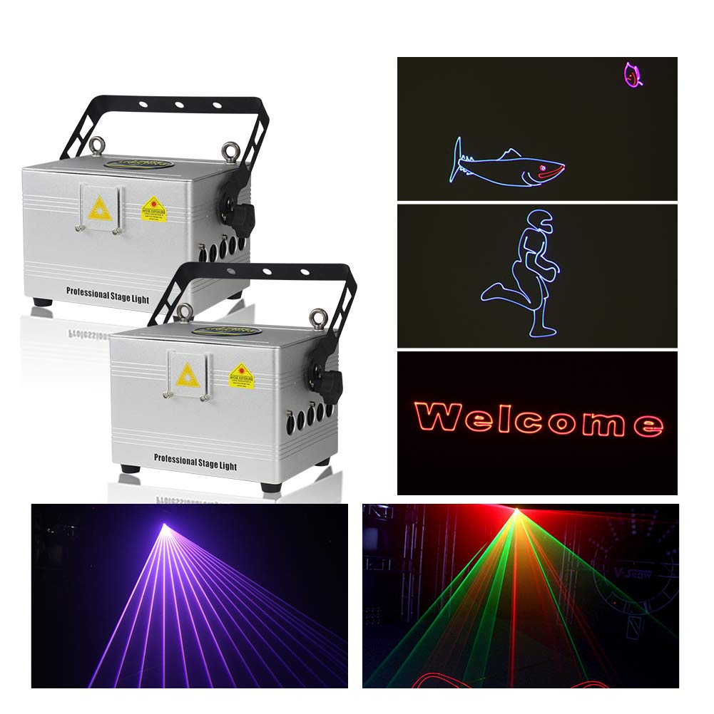 V-Show 2PCS LED Stage Light 3W RGB Laser Scanner for Show Party, Stage Laser Light Animation DMX LED Projector for KTV, club, party, pub, bar, banquet, school show projector by V-Show