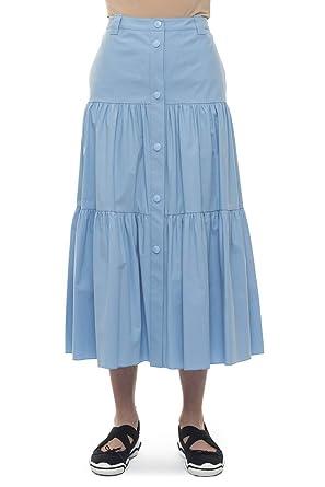 Red Valentino Falda Larga Acampanada Celeste algodón Mujer Azul ...