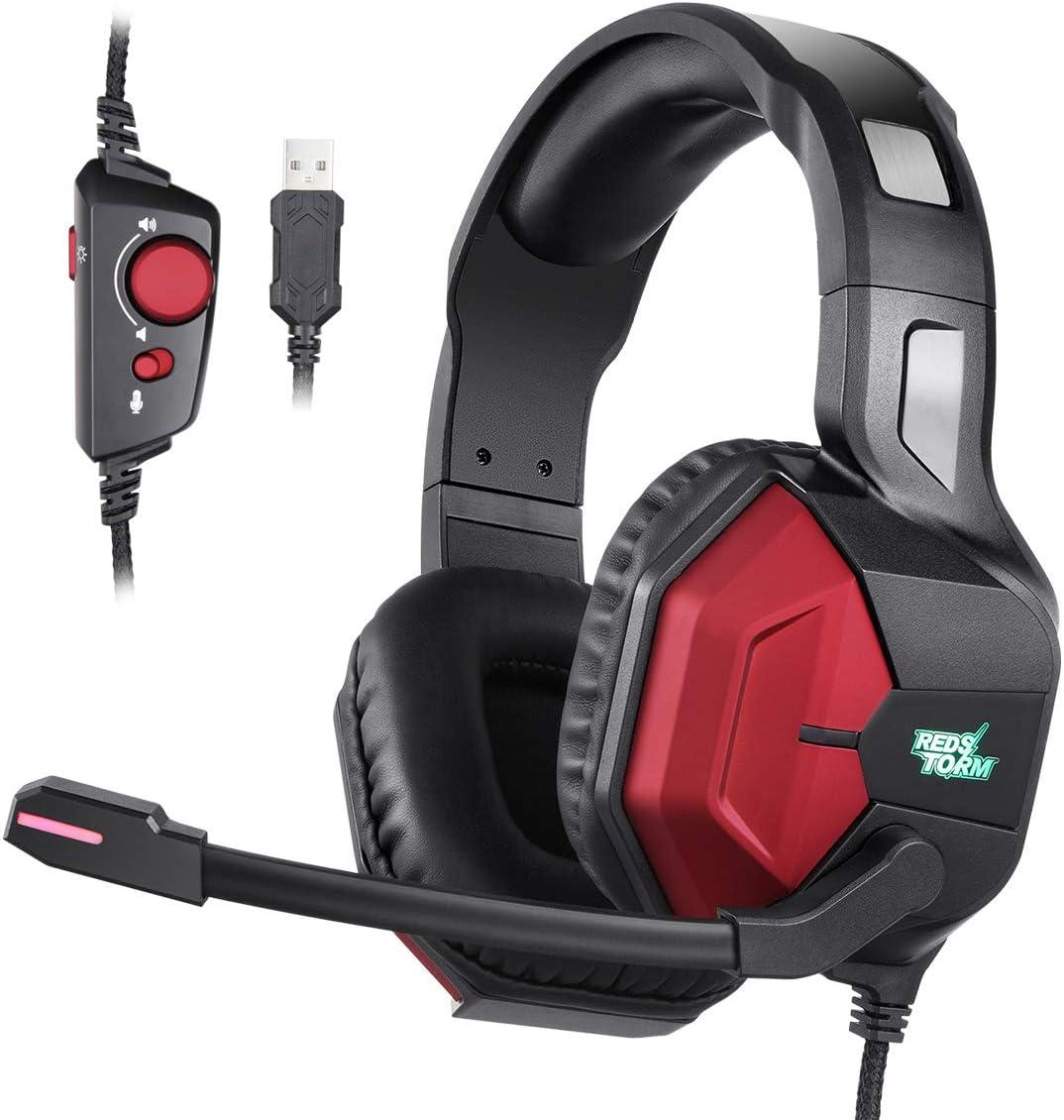 7.1 Auriculares Gaming, EasySMX Cascos Gaming 7.1 Sonido Envolvente Para PC, PS4 y PS3 con RGB Luz y Cancelación de Ruido, Auriculares Juegos con Orejeras Suaves y Sonido Estéreo