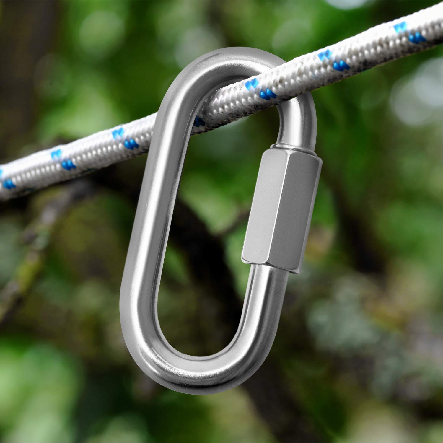Hammock and Camping QWORK 6 Pack Quick Link M4 Chain Connector 304 Stainless Steel Heavy Duty D Shape Locking for Outdoor Traveling Equipment