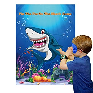 Pin The Fin On The Shark Party Games for Kids Birthday Party Supplies Baby Shark Party Games Include Large Shark Games Poster 24 Fin Stickers and Blindfold