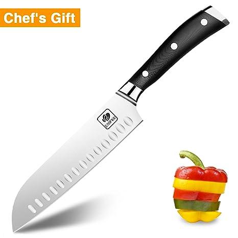Cuchillo Santoku, Eisfeu Cuchillo cocina de 18 cm, Cuchillo cocinero, Hoja afilada, Cuchillo para pelar, Cuchillo cocinero, Mango de G10 ergonómico ...