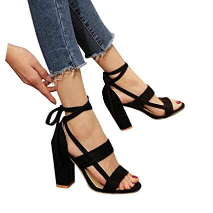 111ac11aa609 Smdoxi ♥Womens High Heel Sandals Womens Ankle Strappy Open Toe Pumps High  Heel Sandals Dress
