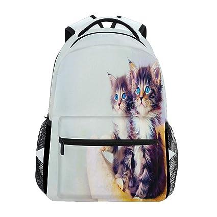 Mochila de Gato Blanco con diseño de Gato, Impermeable, para la Escuela, para el Gimnasio, ...