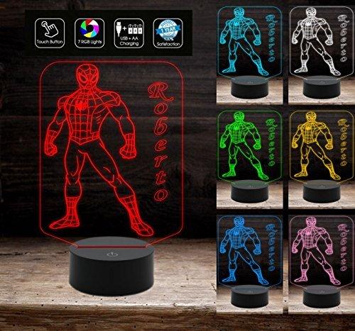 UOMO RAGNO Lampada led 7 colori selezionabili SPIDERMAN Gadget fumetto Eroe Marvel dea regalo originale Decorazione della casa Night Light