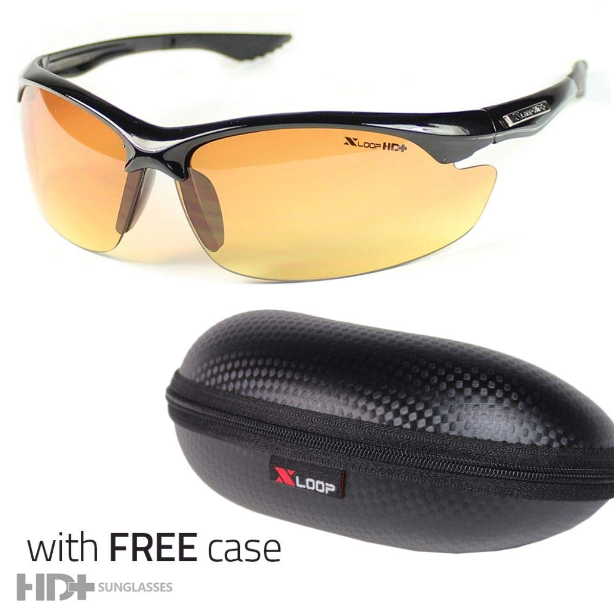 Polarized SPORT WRAP HD NIGHT DRIVING YELLOW SUNGLASSES HIGH DEFINITION CASE