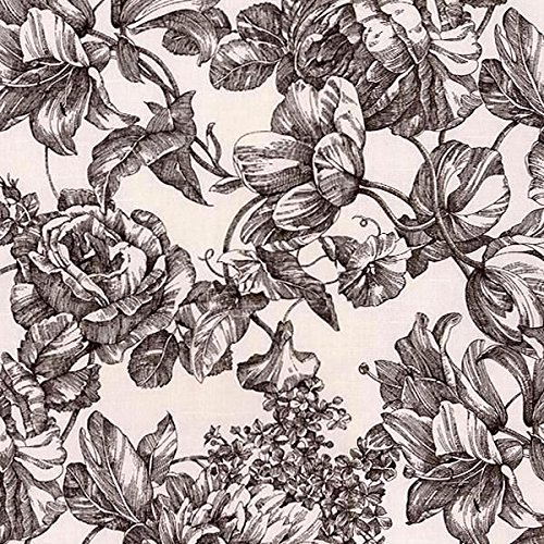 ce Waverly Garden Toile Onyx (Black/White) Fabric, Handmade Custom Made (Garden Toile Fabric)