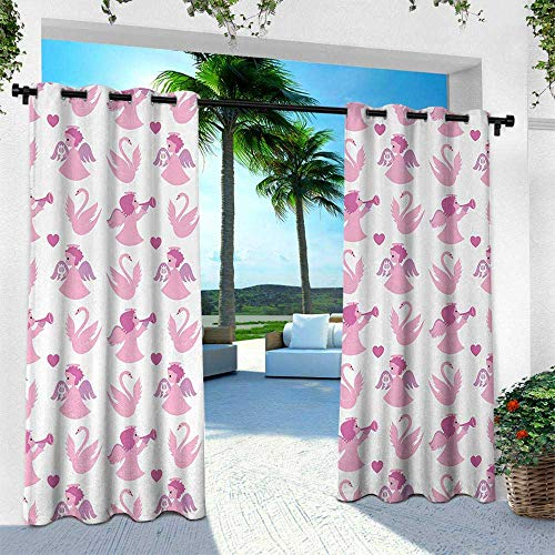 Angel, Outdoor Privacy Curtain for Pergola,Cute Angel Swans Love in The Air Theme Valentines Honeymoon Cupid Dreamlike, W84 x L108 Inch, Fuchsia Baby Pink