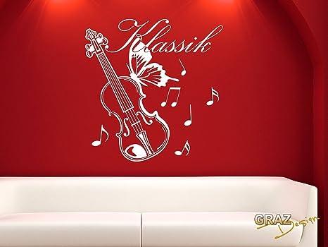 Parete adesivo xxl scritta classica violino farfalla e note