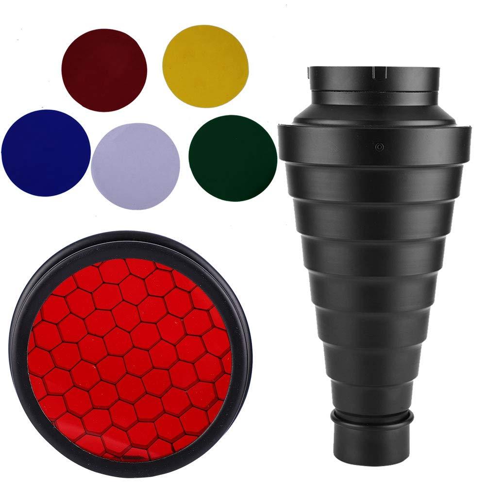 写真撮影用円錐形スヌートキット ハニカムグリッドと5色フィルターライトビームチューブ付き ストロボライト用   B07PG25HVF