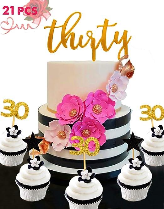 21 piezas JeVenis 30 cumpleaños decoración para tarta de ...