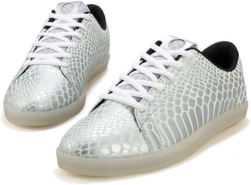 M Pet With Me Fashion Men/&Womens USB Charging Fashion Shoes Fashion LED Light Luminous Sneakers Silver9.5 D US