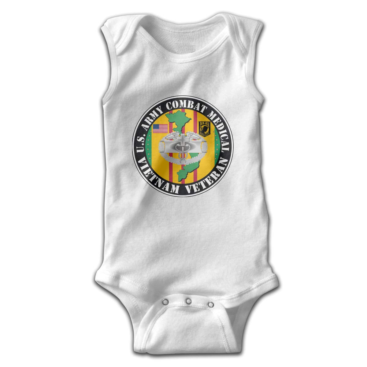 Army Combat Medical Vietnam Veteran Newborn Baby No Sleeve Bodysuit Romper Infant Summer Clothing Black Dfenere U.S