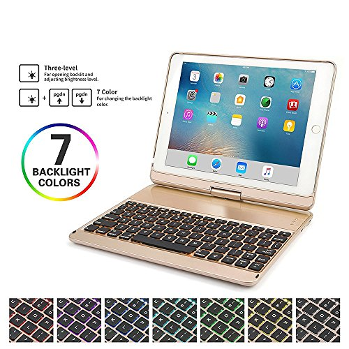 HIOTECH iPad Pro 10.5 Keyboard Case Rotating Folding Aluminum Alloy Keypad Cover for iPad Pro 10.5 with 7 LED Backlit Keys (Gold)