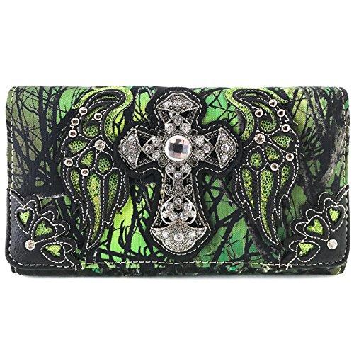 Justin West Camouflage Tree Bling Rhinestone Angel Wing Cross Shoulder Concealed Carry Handbag Purse (Green Wallet Only) - Angel Handbag Holder