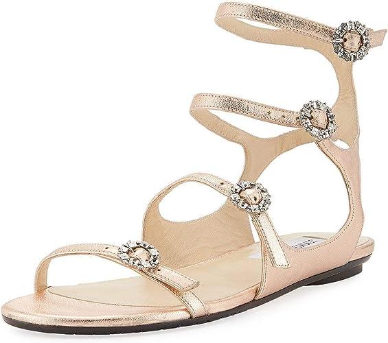 JIMMY CHOO Naia Metallic Flat Sandal