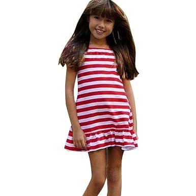 K-youth Vestido Niña Vestido Bebé Niña Verano Rayas Tutú Princesa ...