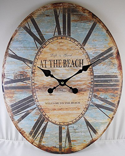 Oval Wall Clock ~ LIFE IS GOOD WELCOME TO THE BEACH ~ ()