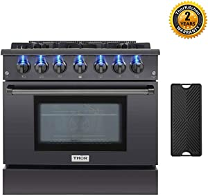 New Thor Kitchen 36'' Pro-Style Gas Range HRG3618-BS with 5.2 cu.ft Convection Oven in Black Stainless Steel, 6 Burners & Cast Iron Grates, Cast-Iron Reversible Griddle
