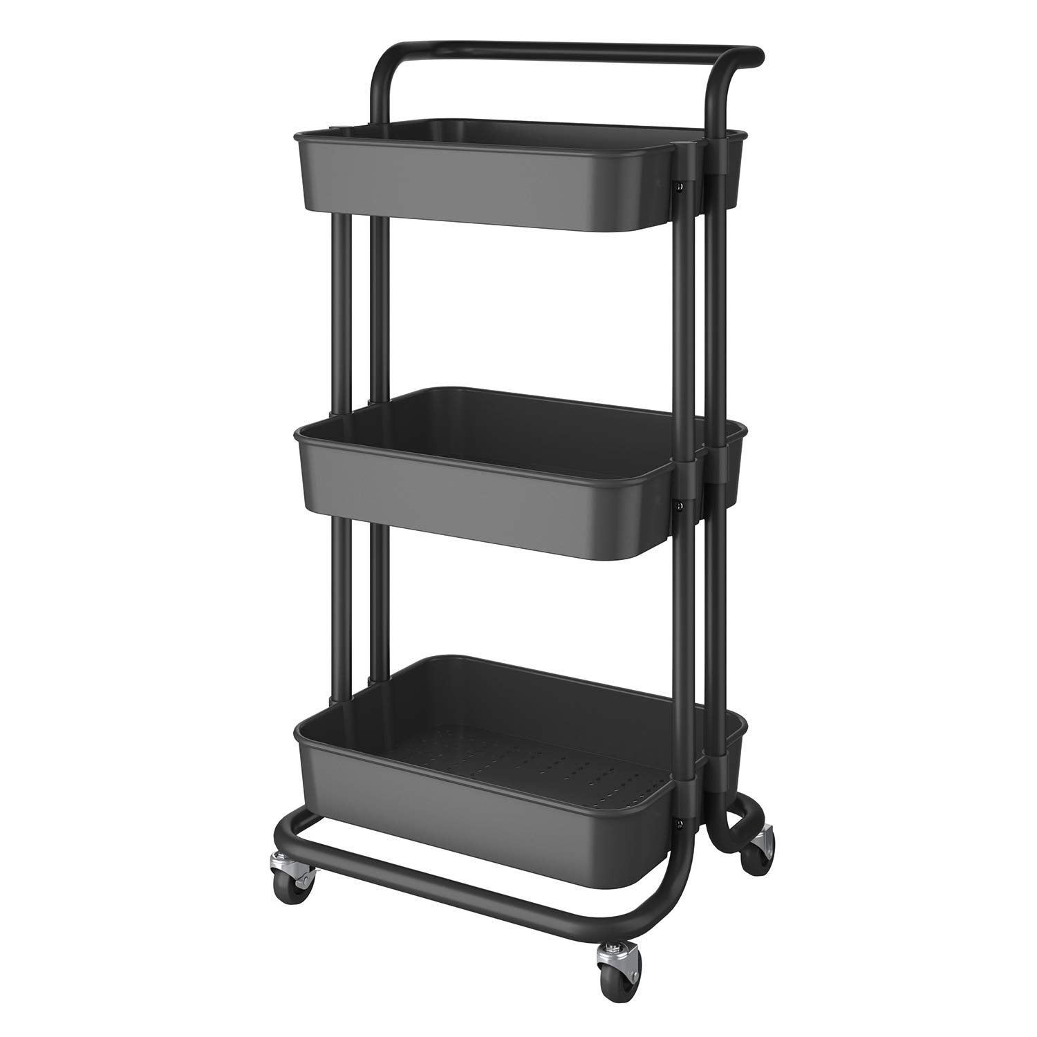 Finther 3-Tier Rolling Cart Storage Cart with Utility Handle Organizer Cart with Caster Wheels Utility Cart Rolling for Bathroom, Kitchen, Office Bedroom