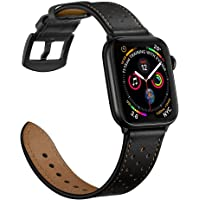 Mifa Premium Leather Band Compatible with Apple Watch 4 44mm 42mm 40mm 38mm Bands iwatch Series 1 2 3 Replacement Strap Dressy Classic Buckle Vintage case Band with Black Stainless Steel Adapters