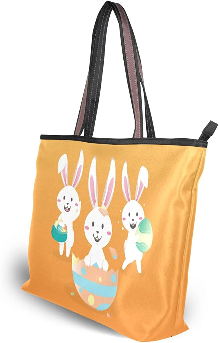My Daily Women Tote Shoulder Bag Easter Bunny Rabbit Colorful Eggs Handbag