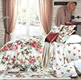 Eikei Shabby Chic French Country Garden Floral Duvet Quilt Cover by, Colorful Blossom Fruit Print Reversible Cotton Bedding Set Cottage Style Blooming Orchard Meadow Flowers (King, Ivory)