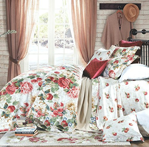 Eikei Shabby Chic French Country Garden Floral Duvet Quilt Cover by, Colorful Blossom Fruit Print Reversible Cotton Bedding Set Cottage Style Blooming Orchard Meadow Flowers (King, Ivory) Cream Floral Fruit