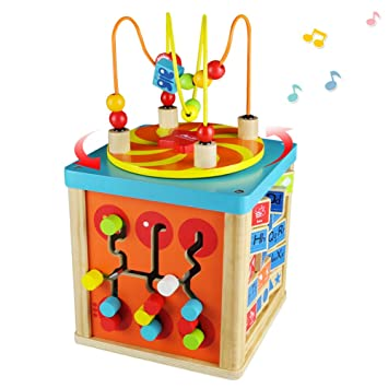 Fajiabao Wooden Activity Cube Bead Maze 5 In 1 With Music Box Wooden